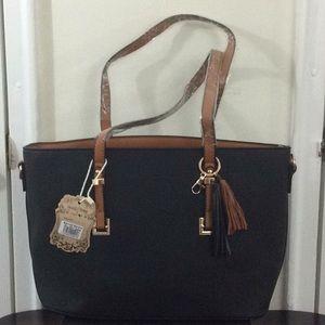 Black & Tan Tassel Handbag